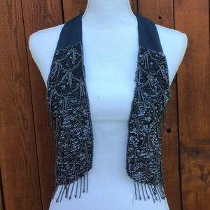 Urban Outfitters Silence + Noise Navy Beaded Vest